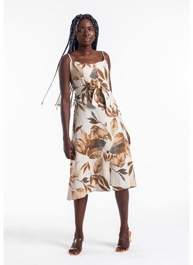Tiffany&Tomato Askılı Önü Düğmeli Palmiye Desenli Elbise Vizon